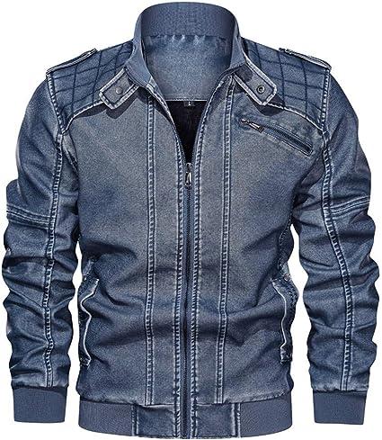 ZODOF Jacket Chaqueta de Cuero de Cuello Alto sin Sombrero Vintage para Hombre Chaqueta Suelta Chaquetas Hombre de Invierno Abrigo De Invierno,Azul: Amazon.es: Instrumentos musicales