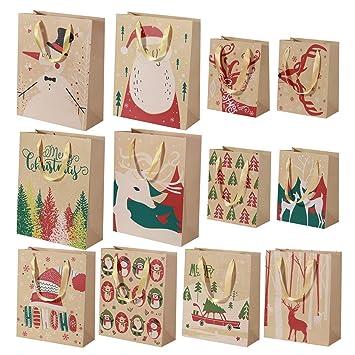 BESTOYARD Paquete de 24 Bolsas de regalo Kraft de Navidad ...