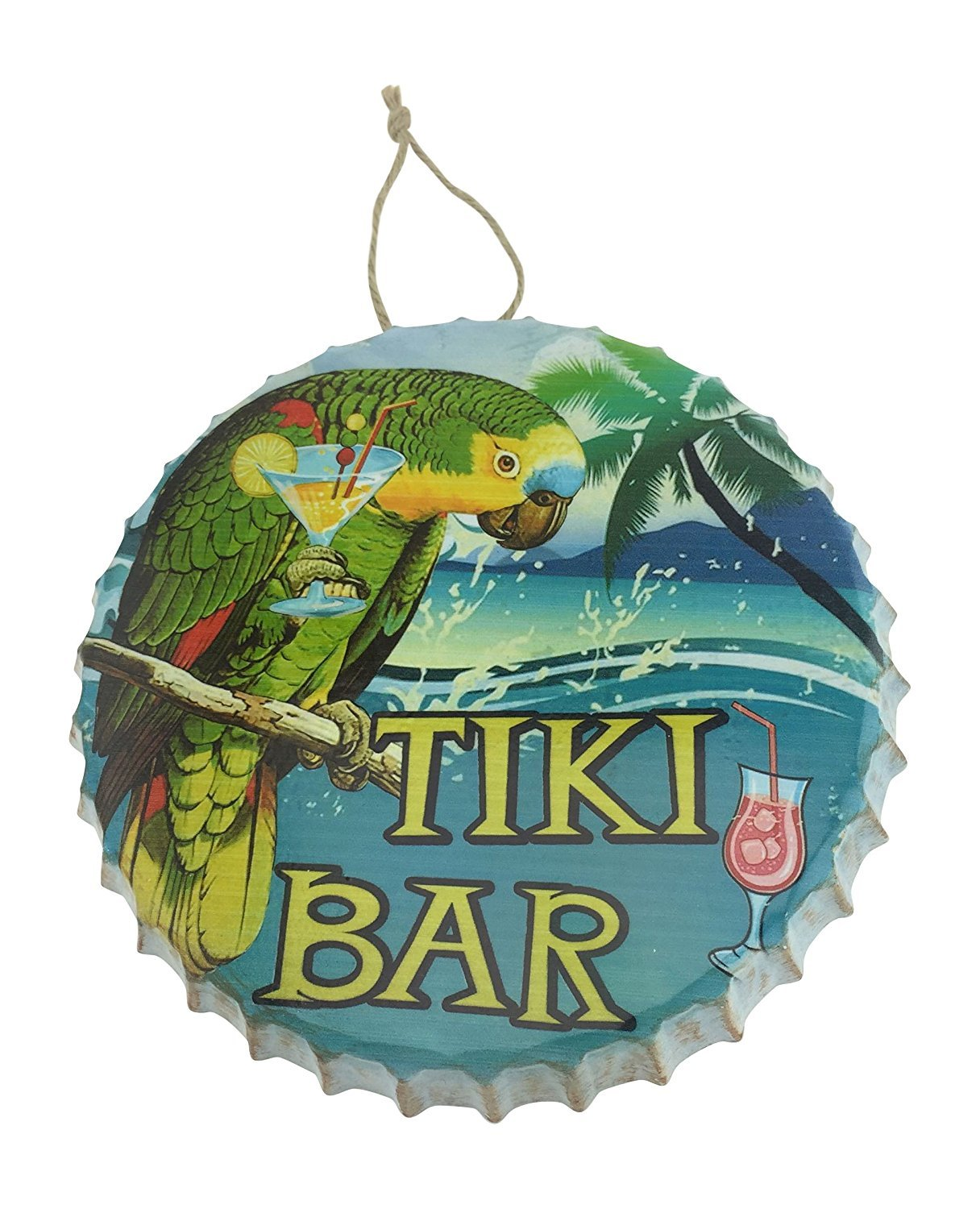 Tiki Bar Metal Bottle Cap Hanging Sign with Parrot The Globe Imports Inc W2134