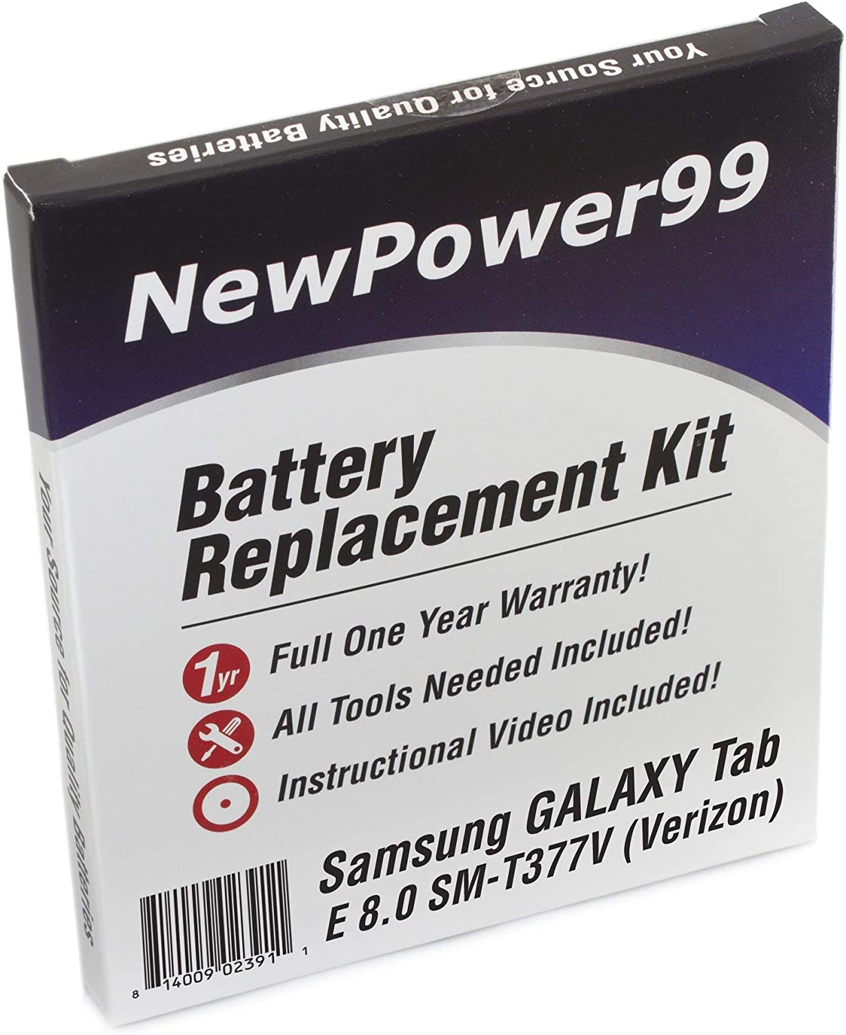 Verizon Instructions and Tools for Samsung Galaxy Tab E 8.0 SM-T377V NewPower99 Battery Replacement Kit with Battery