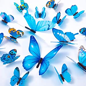 60PCS Butterfly Wall Decals - 3D Butterflies Decor for Wall Removable Mural Stickers Home Decoration Kids Room Bedroom Decor (Blue)