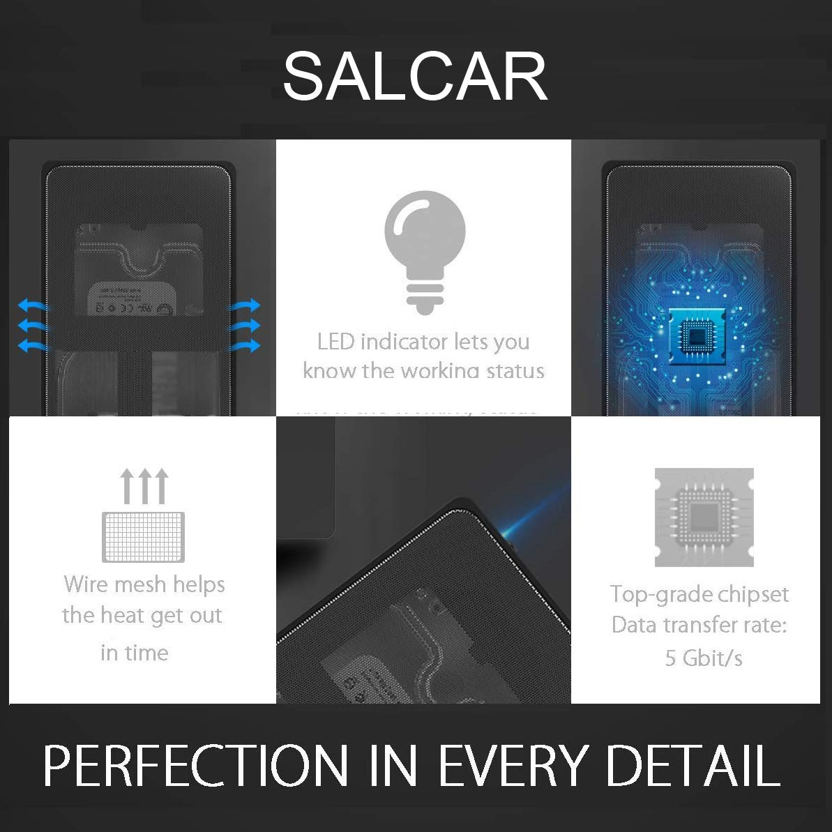 SALCAR Carcasa Disco Duro USB 3.0 a SATA para SATA HDD/SSD 9.5mm/ 7mm 2.5
