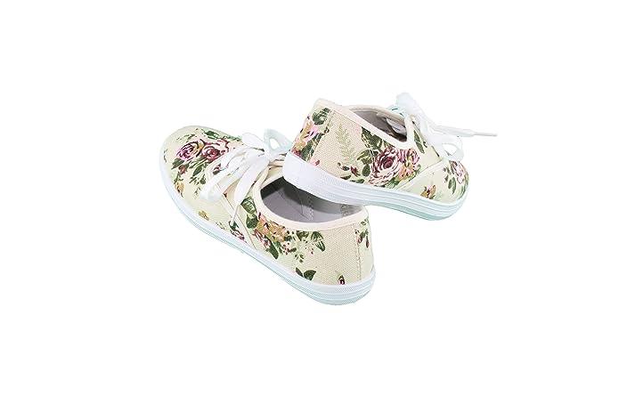 Brandsseller Damen Sneaker Leinenschnürer Rosen Blumen-Muster -Schwarz und  Beige  Amazon.de  Schuhe   Handtaschen 61b8c3904d