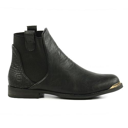 Chelsea en botas, diseño de piel de cocodrilo, color negro, Negro (negro), 42: Amazon.es: Zapatos y complementos