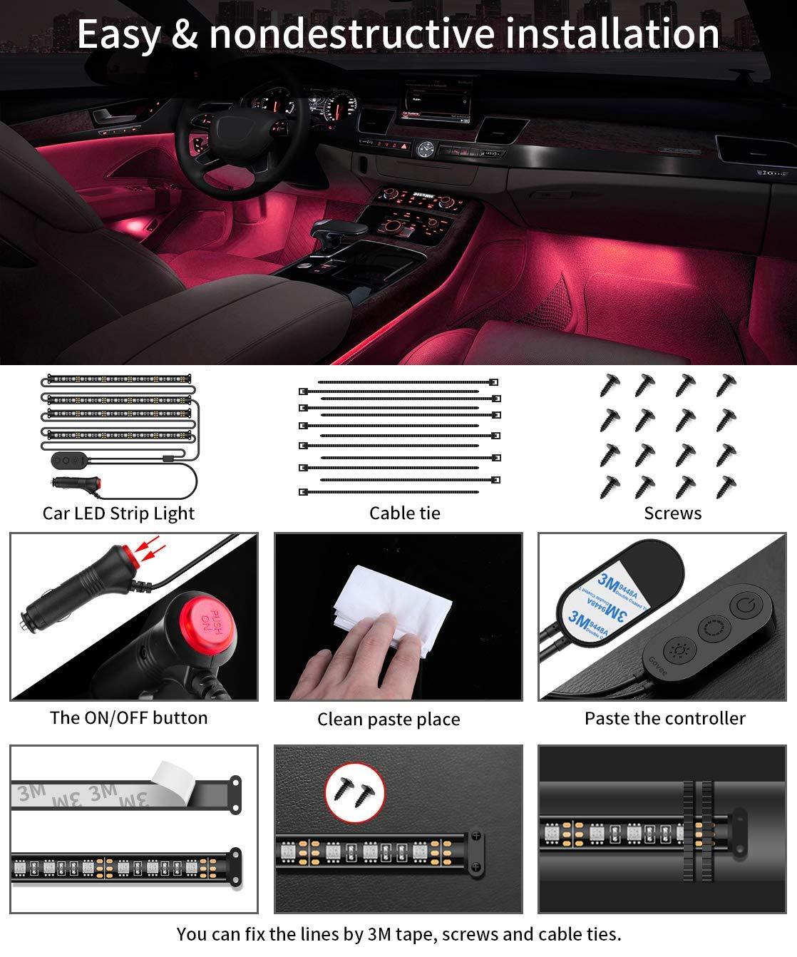 Auto LED Innenbeleuchtung Govee RGB LED Beleuchtung Auto Musik LED Strip 12V Autoladeger/ät Enthalten Wasserdicht 44 LEDs Lichtband Kit T/öne aktive Funktion durch Mikrofon und Praktischem Controller