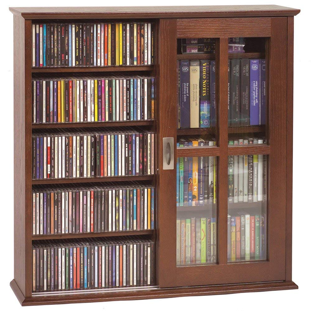 Leslie Dame MS-350W Wall Mounted Sliding Door Mission Style Media Storage Cabinet, Walnut Leslie Dame -- DROPSHIP