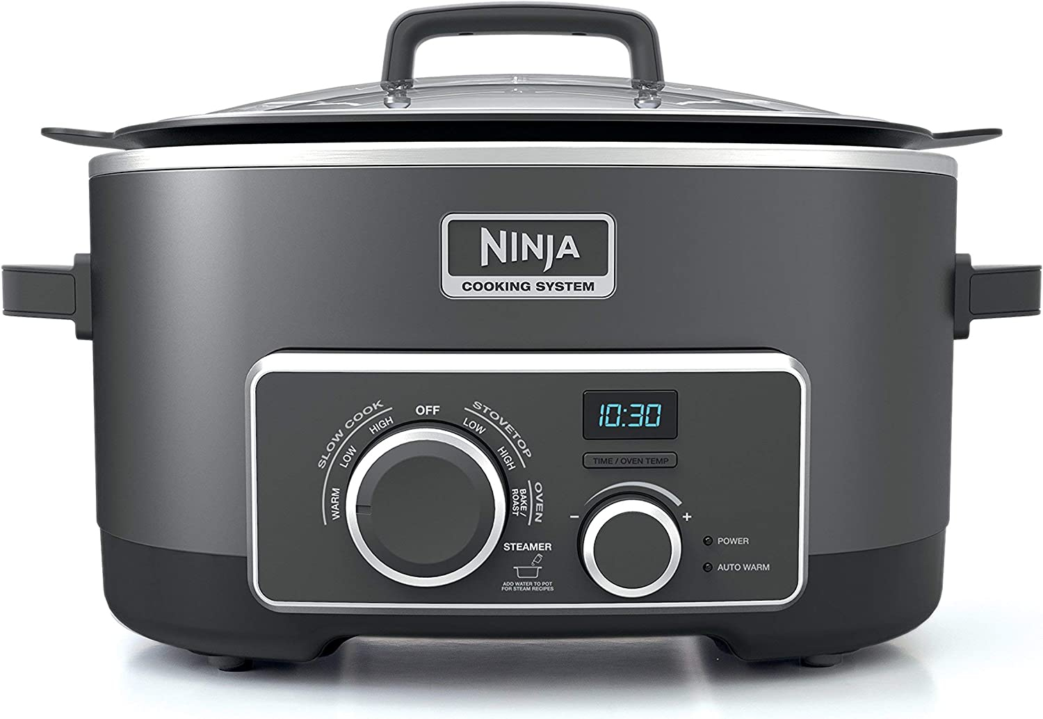 Ninja Multi-Cooker with 4-in-1 Stove Top, Oven, Steam and Slow Cooker Options, 6-Quart Nonstick Pot, and Steaming Roasting Rack MC950Z , Black Renewed