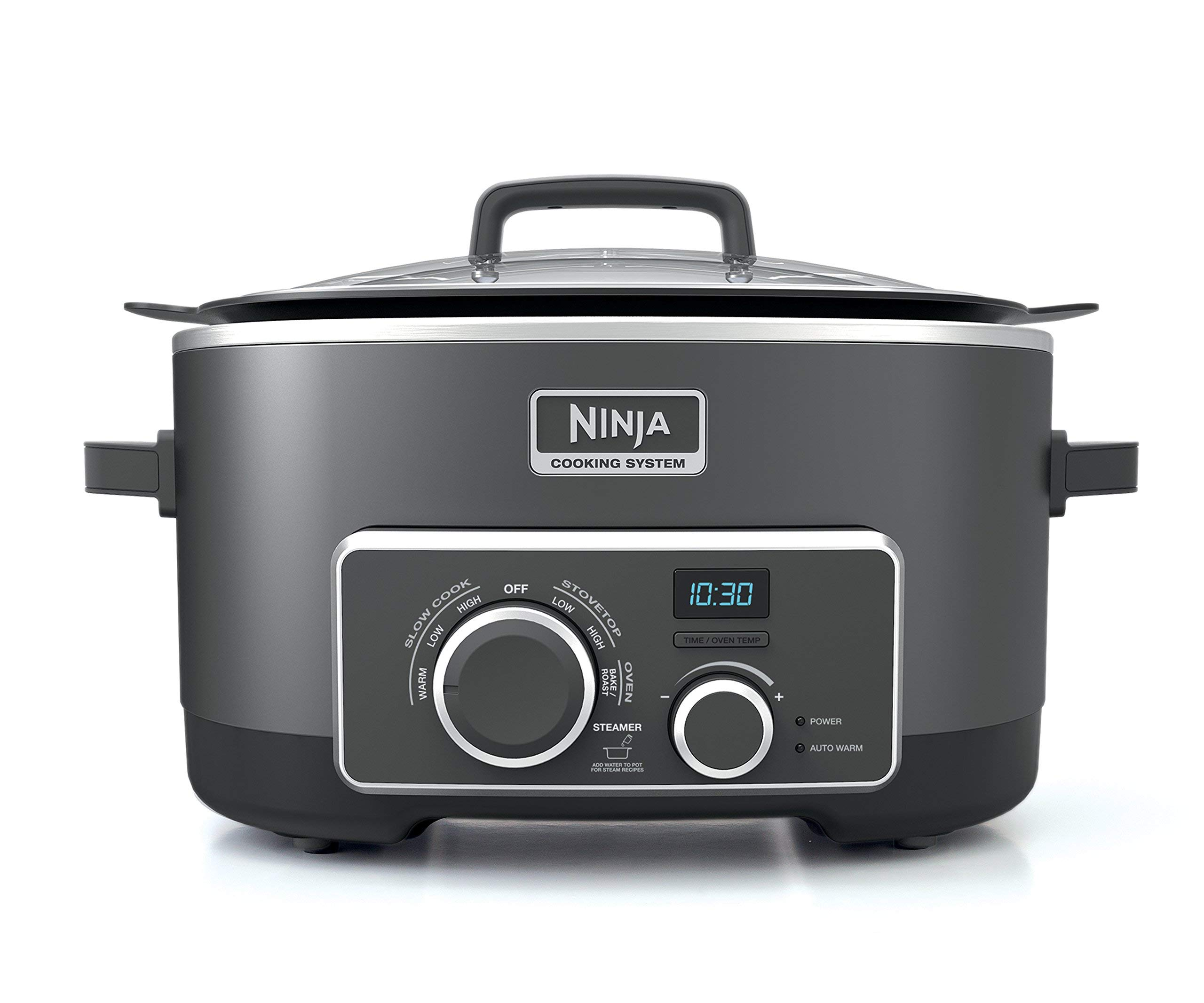 Ninja Multi-Cooker with 4-in-1 Stove Top, Oven, Steam and Slow Cooker Options, 6-Quart Nonstick Pot, and Steaming/Roasting Rack (MC950Z), Black (Renewed)