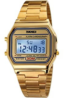 PASOY Mens Digital Gold Stainless Steel Watch Backlit Multifunction Stopwatch Waterproof Sport Watches