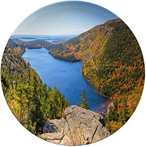 Creative Round Dinner Plates,Pond In Autumn Panorama Acadia National Park,Decor For Living Room Wall/dining Table/Office,8 Inch 6 Piece Set
