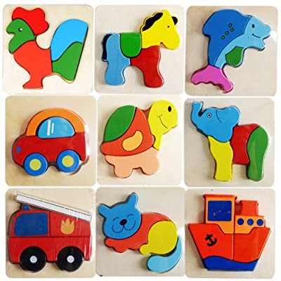 La Cabina Brain Teaser Puzzle 3D Bois Enfant Puzzle de Développement Jouet Puzzle Bois Motif Véhicules et Animaux Jouets Educatifs Cadeau pour Enfant(Style Aléatoire)