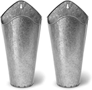 Akarden Galvanized Metal Wall Planter, 2 Set Hanging Wall Vase Planter for Succulents or Herbs, Perfect for Home Wall Decor