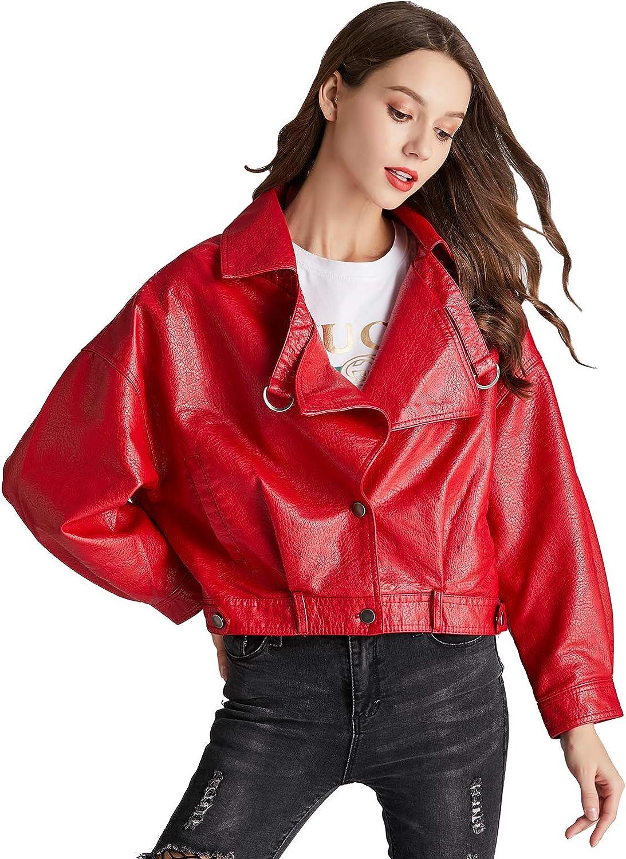 LY VAREY LIN Womens Faux Leather Jacket Red Moto Biker Loose Fit Short Coat Jackets