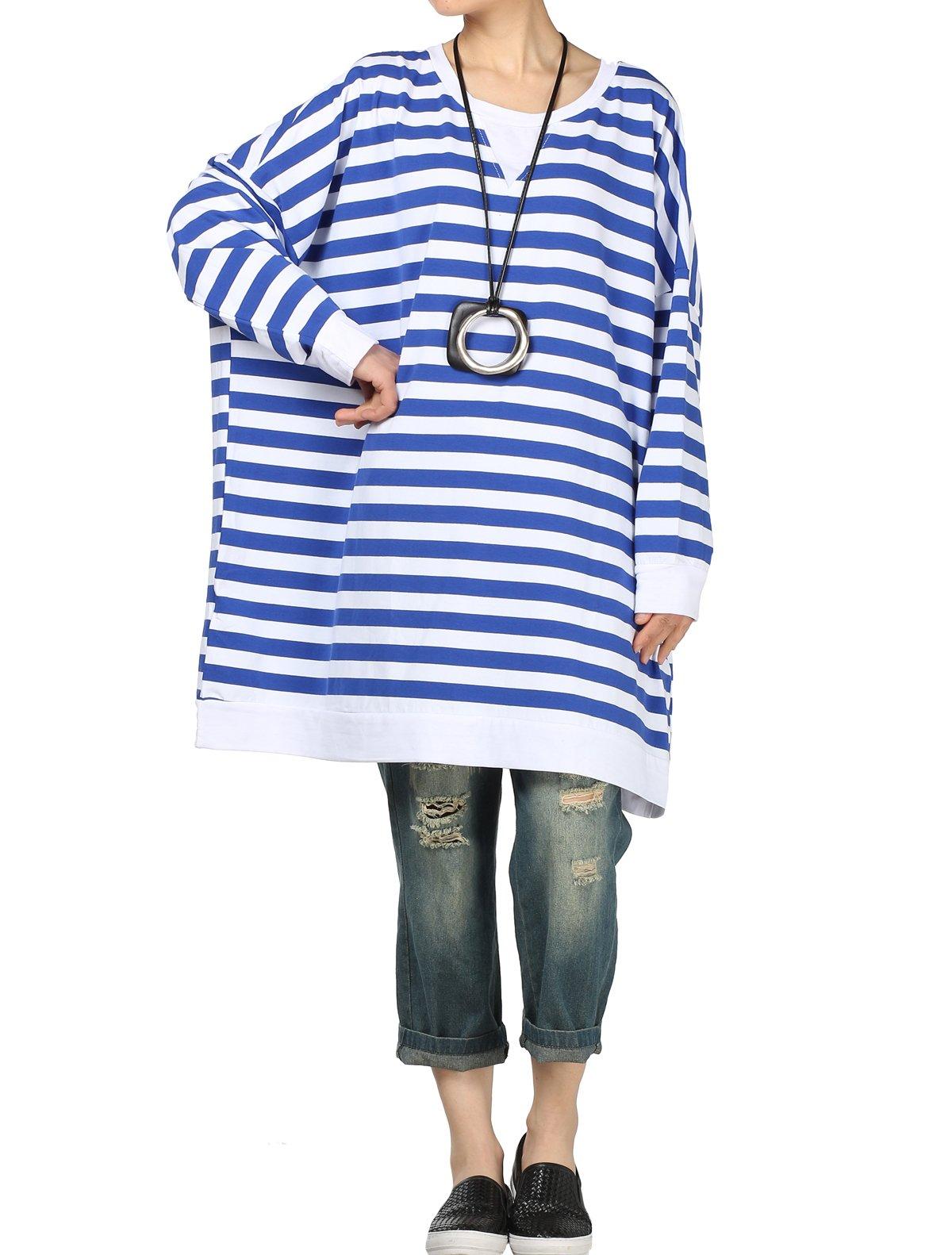 Mordenmiss Women's Long Sleeve Stripes Tops Loose T-shirt Dress (L, Style 3-Blue)