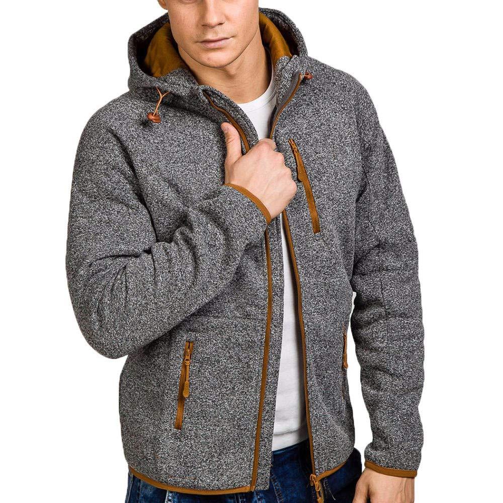 Teresamoon Mens Autumn Winter Casual Zipper Long Sleeve Pullover Sweatshirt Hoodie Coat Top