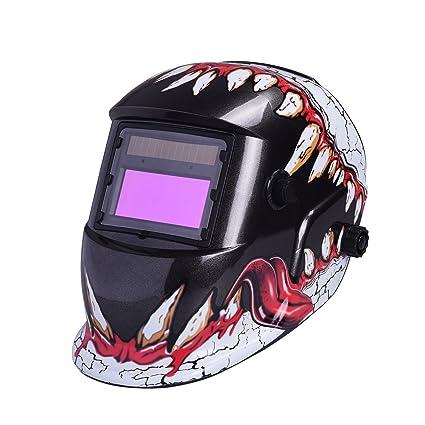 Nuzamas - Casco de protección para soldaduras que funciona con energía solar - Se oscurece automáticamente - Protección facial ...