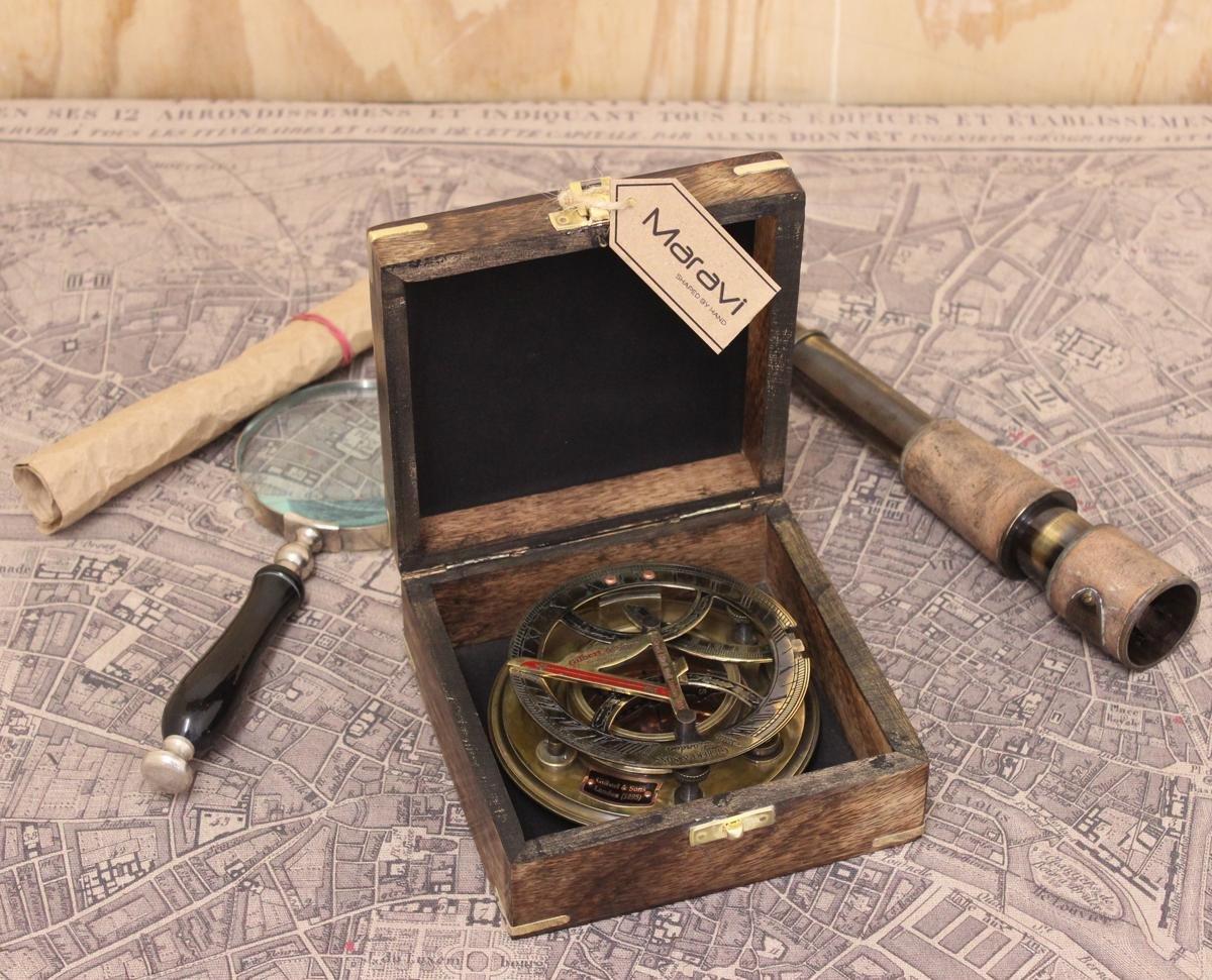 Maravi Antik Sonnenuhr Kupfer Kompass Pflege