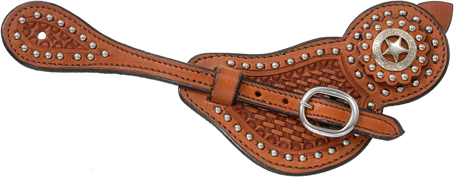 Tough 1 Royal King Lined Cowhide Spur Straps with Basket Tooling and Dots