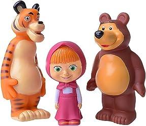 Set of Three Cartoon Characters Masha and the Bear Rubber Squeaking Bath Toys Masha Bear and