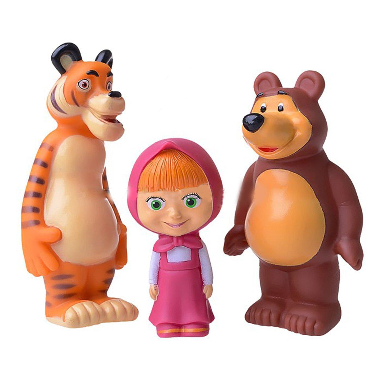0c122e214c910 Set of Three Cartoon Characters Masha and the Bear Rubber Squeaking Bath  Toys Masha Bear and...