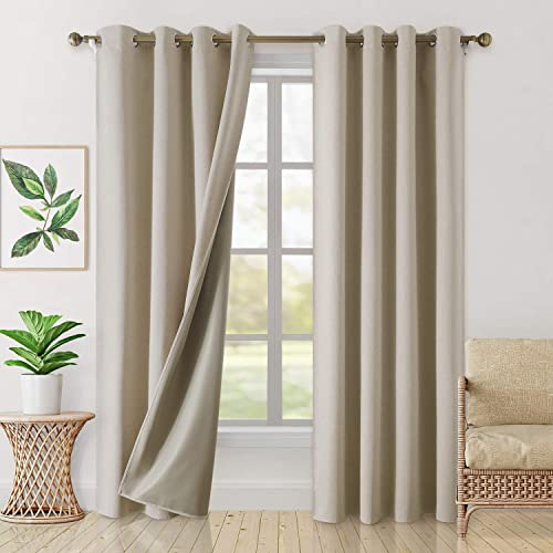 HOMEIDEAS 100 Blackout Curtains 2 Panels Faux Linen Curtains Natural Room Darkening Curtains 52 X 96 Inches Thermal Insulated Grommet Window Curtains/Drapes - the best window curtain panel for the money