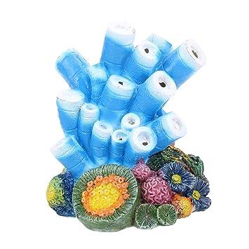UKCOCO Adornos de la bomba de oxígeno del acuario del diseño coralino decorativos de piedra de la burbuja de aire para la decoración del acuario del ...