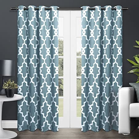 2pc 84 Teal Blue White Moroccan Curtains Panel Pair Set Luxury Themed Traditional Lattice Design