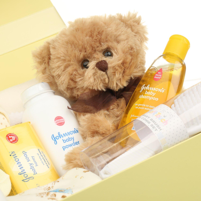 Baby Box Shop - Cesta regalo bebe - Regalos originales para baby shower con esenciales para bebes recien nacidos que incluye oso de peluche y caja ...