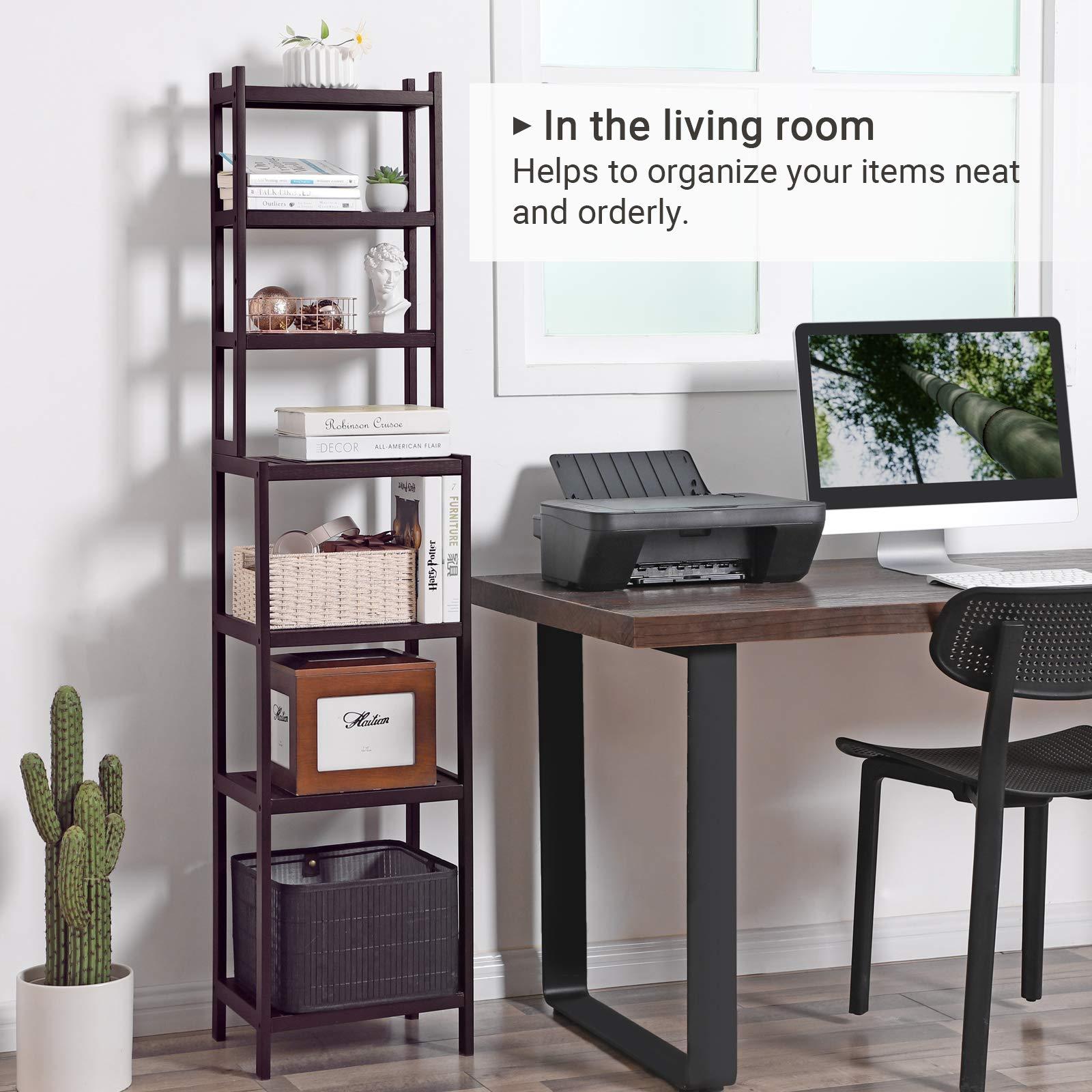 SONGMICS 7-Tier Bamboo Bathroom Shelf, 2-in-1 Design Adjustable Storage Rack, Free Standing Multifunctional Organizer, Shelving Unit for Washroom, Living Room, Kitchen, Brown UBCR01BR by SONGMICS (Image #4)