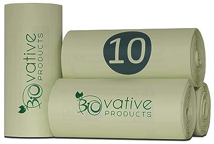 Bolsas de basura orgánica compostable 10L con y sin asa - 100% compostable y biodegradable - 100 piezas. Bolsas de basura orgánica de 10 litros con y ...
