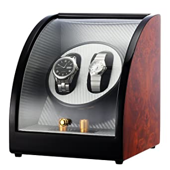 CHIYODA Doble Cargador para Relojes Automáticos, Cajas giratorias con motor silencioso, alimentado por batería o adaptador de CA - 12 Modos de Rotación: ...