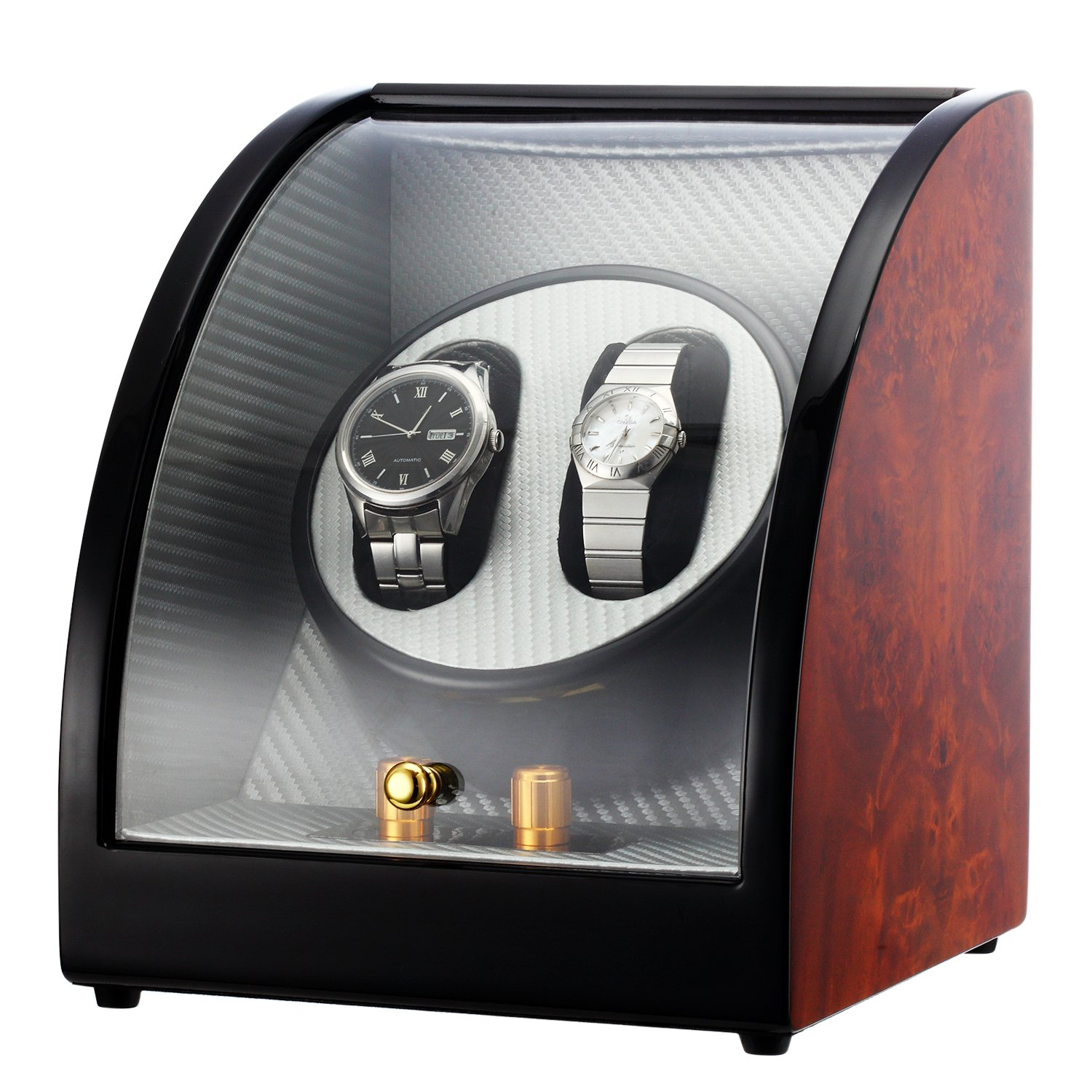 CHIYODA Dual Automatic Watch Winder with Quiet Motors, 12 Setting Rotation Modes - Patent Design