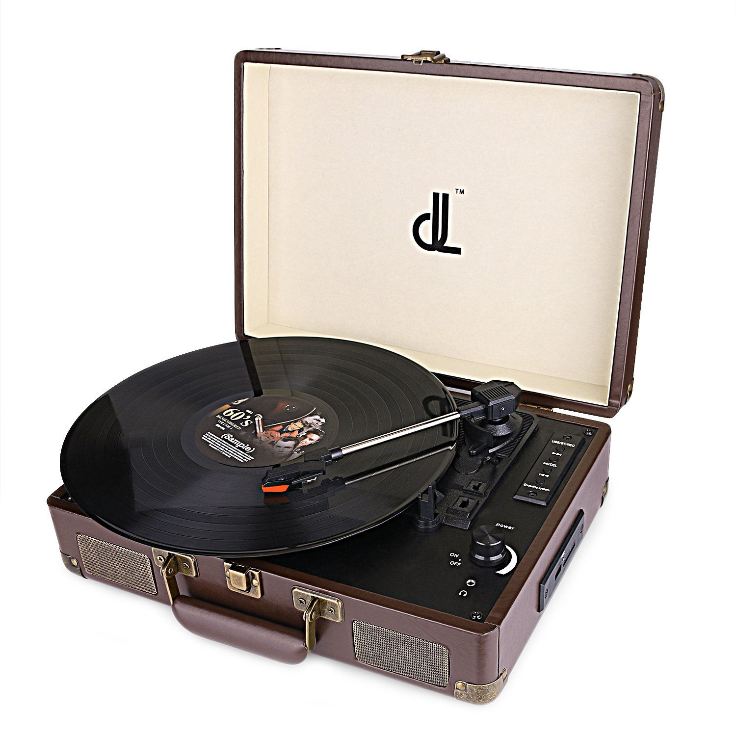 D&L Vintage Leather Bluetooth Record Player Portable Suitcase Turntable, 3 Speed 33/45/78, USB Play and Encoding,Stereo Speaker Recording Player