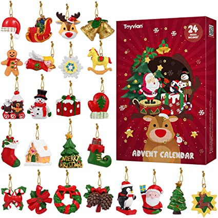 Toyvian Christmas Advent Calendar 2019 Countdown Calendar 24pcs Hanging Ornaments Animals Relief Toys Xmas Countdown Christmas Decorations For Wall