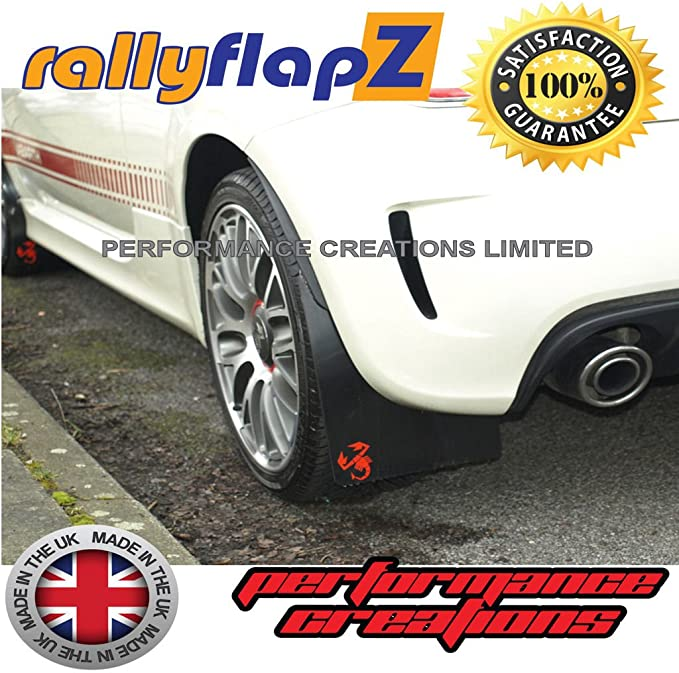 Fiat 500 Abarth MUD FLAPS rallyflapZ Negro /'Scorp/' Rojo 4mm PVC ** ** Solo Traseros