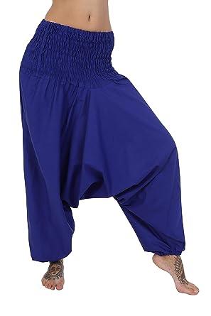 f20c20b83d ThaiUK Indian Baggy Harem Trousers Plain 100% Cotton (Blue): Amazon.co.uk:  Clothing