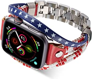 Wetheband American Flag Band Compatible for Apple Watch 42mm 44mm, Us Flag Genuine Leather Bands with Stainless Steel Metal Clasps, Replacement Handmade Strap for iWatch Series 5/4/3/2/1