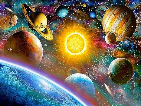 Bimkole 5d Diamond Painting Kit Bricolaje Arte Cielo Estrellado Tierra, Planeta Universo Pintura Diamantes Kits Estampados De Punto De Cruz Diamantes de Imitaci/ón Decoraci/ón de Pared, 30x40 cm