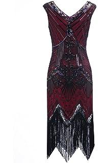 Clothin - Vestido de lentejuelas para mujer, años 20, diseño tipo Gatsby, cóctel
