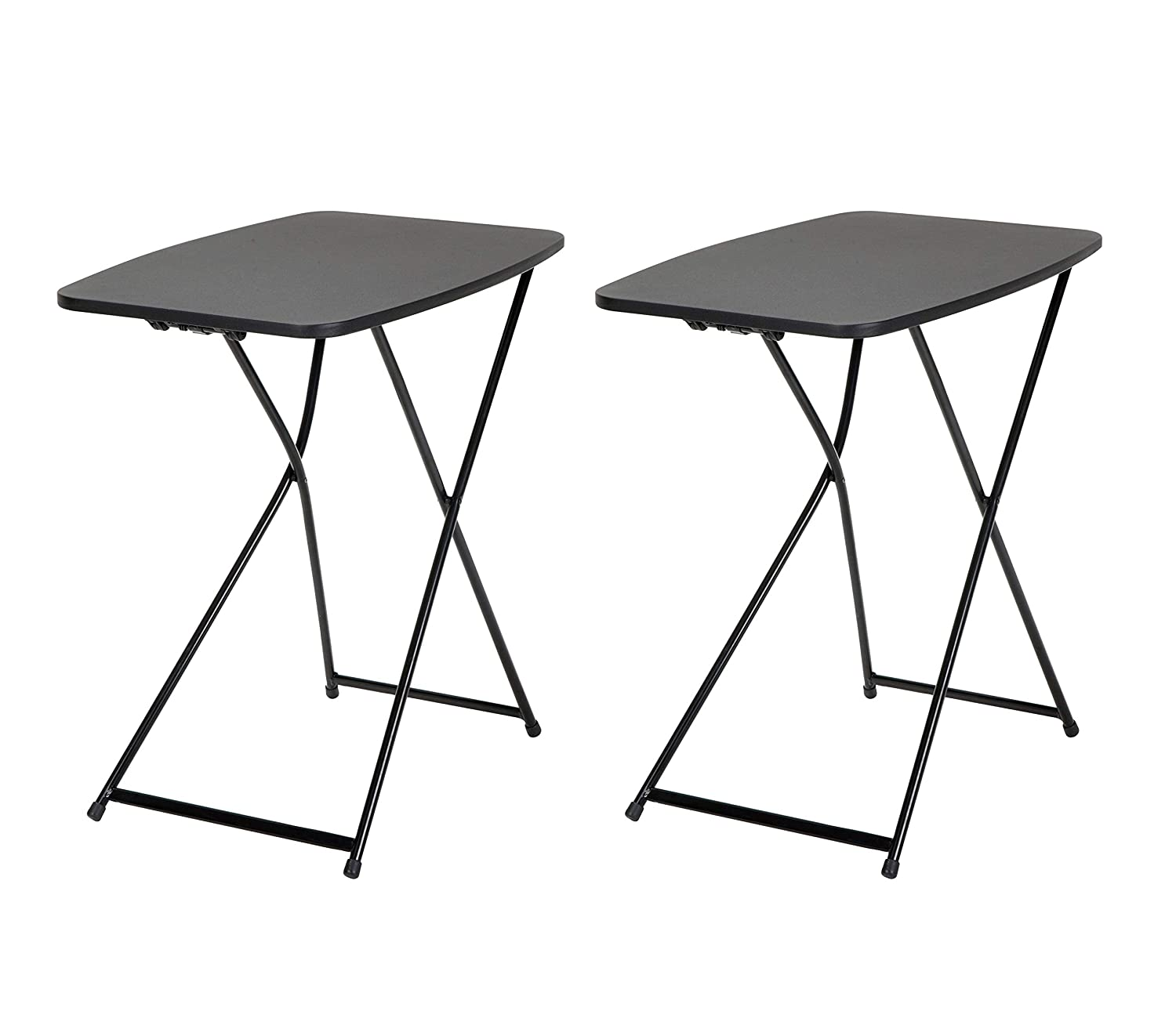 COSCO 18 x 26 Indoor Outdoor Adjustable Height Personal Folding Tailgate Table, Black, 2 pack