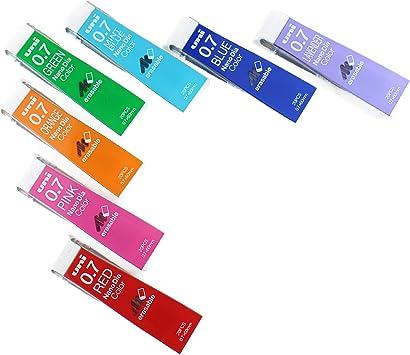 7 Pack//total 140 Leads Uni NanoDia Color Mechanical Pencil Leads 0.5mm 7 Color Set