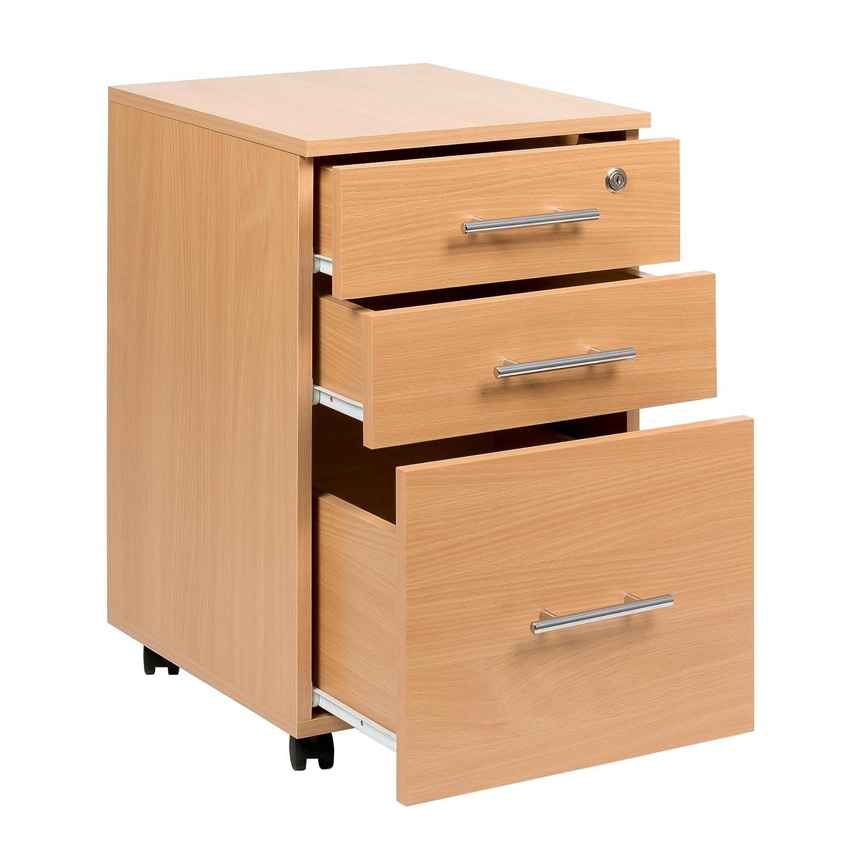 Cajonera de madera de haya con 3 cajones para debajo del escritorio, 40 x 44 x 65 cm: Amazon.es: Hogar
