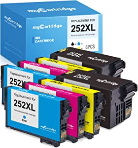 myCartridge Remanufactured Ink Cartridge Replacement for Epson 252XL 252 Work with Workforce WF-3620 WF-3640 WF-7710 WF-7720 WF-7610 WF-7620 WF-7110 WF-7210 (2 Black 2 Cyan 2 Magenta 2 Yellow, 8-Pack)