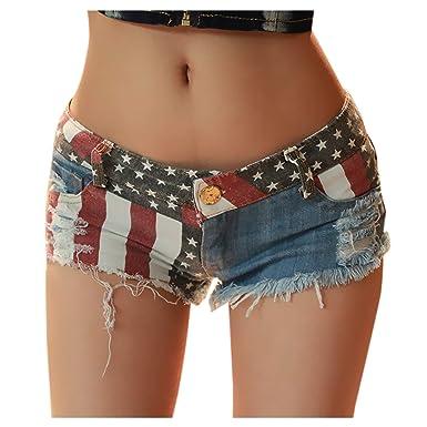 4dd7e12801c272 Elonglin Shorts Sexy Mini Femme Jean Court été Taille Baisse Vintage ...