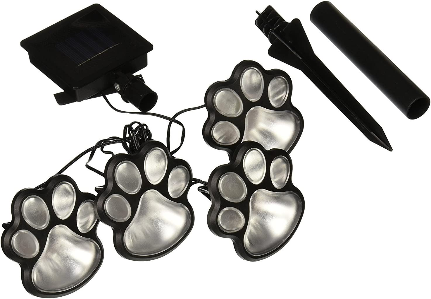 Rebecca online Solar Paw Print Lights (Set of 4), Cool White(6000-6500k) (Cool White)