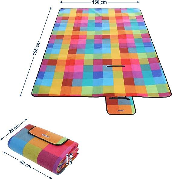 SONGMICS GCM61C - Manta de pícnic (Impermeable, 195 x 150 cm)