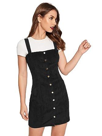 b3a176b9efe1 Floerns Women's Cute Strap Button up Corduroy Overall Sheath Pinafore Dress  ...