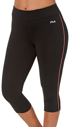 df043b7c448d Fila Women's Side Piped Tight Capri Pants, Black, Coral Cake, ...