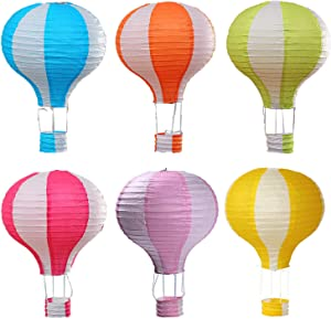 Famgee 12 inch Hanging Hot Air Balloon Paper Lanterns Set Decoration Birthday Wedding Christmas Party Decor Gift Stripe Set Pack of 6