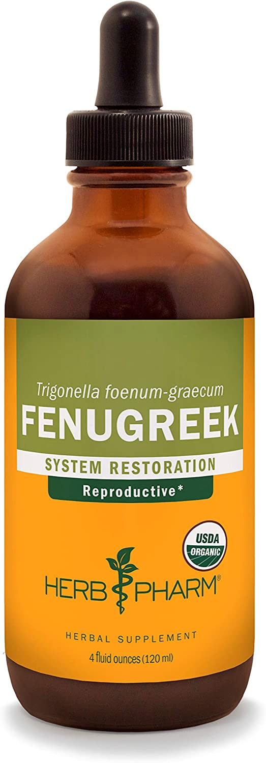 Herb Pharm Certified Organic Fenugreek Liquid Extract for Female Reproductive Support – 4 Ounce